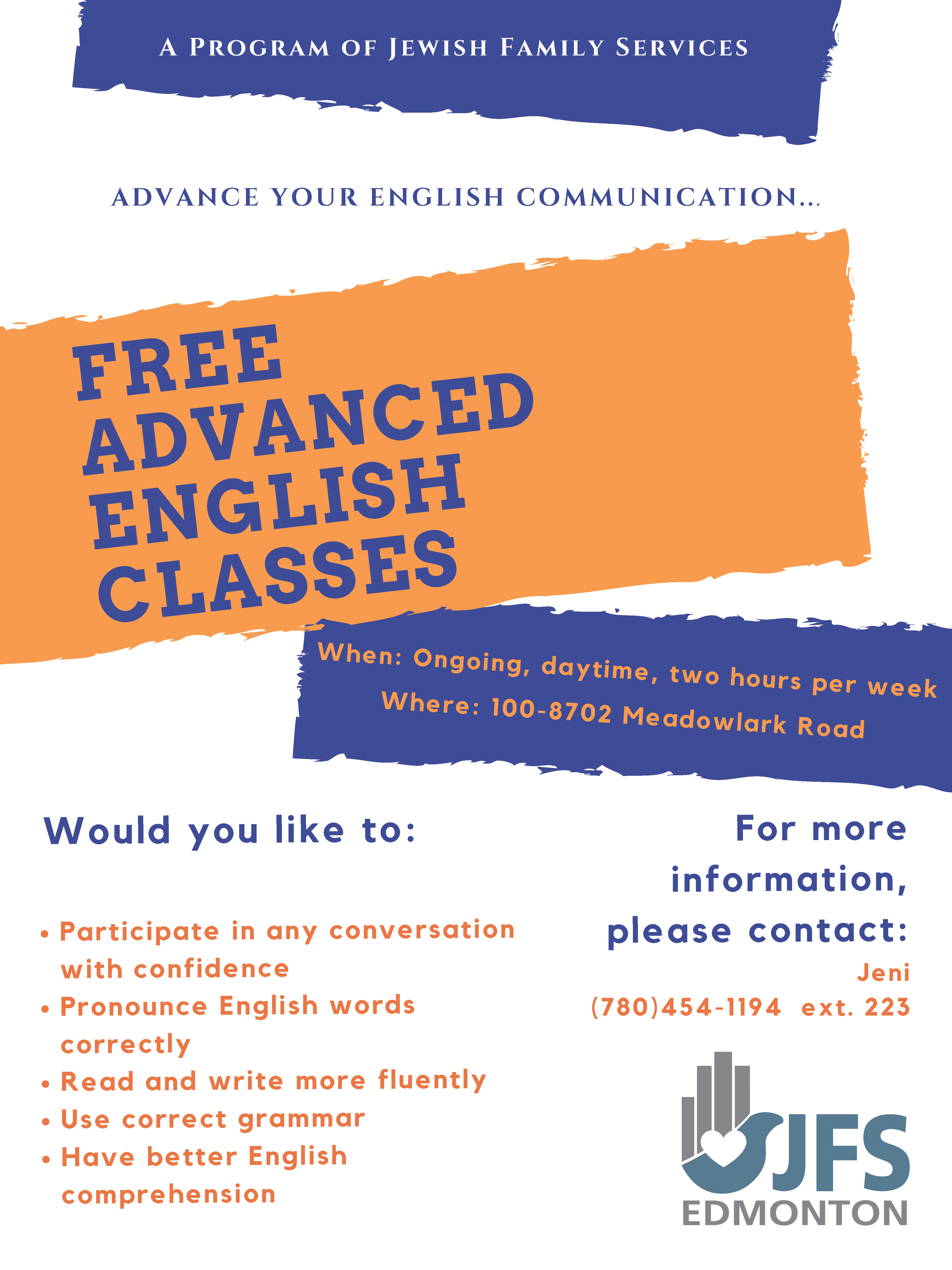 FREE Advanced English course – Jewish Family Services